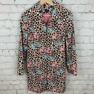 Nicole Miller Leopard Floral Jacket Blazer Size 8